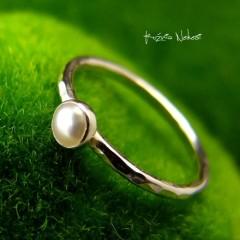 Pierścień Drobinek - Perła Srebro