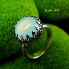 Pierścień Elf - Srebro Agat