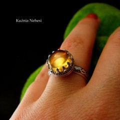 Pierścień Elf - Cytryn Srebro